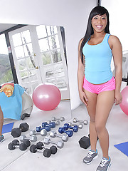 Ebony Topless On Treadmill 4